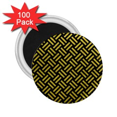 Woven2 Black Marble & Yellow Leather (r) 2 25  Magnets (100 Pack)  by trendistuff