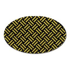 Woven2 Black Marble & Yellow Leather (r) Oval Magnet by trendistuff