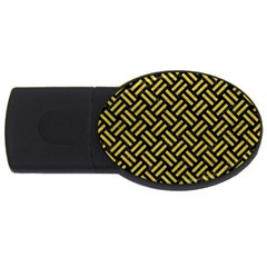 Woven2 Black Marble & Yellow Leather (r) Usb Flash Drive Oval (2 Gb) by trendistuff