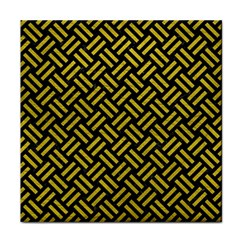 Woven2 Black Marble & Yellow Leather (r) Face Towel by trendistuff