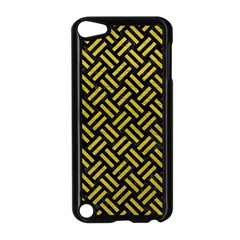 Woven2 Black Marble & Yellow Leather (r) Apple Ipod Touch 5 Case (black) by trendistuff
