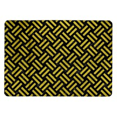 Woven2 Black Marble & Yellow Leather (r) Samsung Galaxy Tab 10 1  P7500 Flip Case by trendistuff