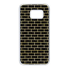 Brick1 Black Marble & Yellow Watercolor (r) Samsung Galaxy S7 White Seamless Case