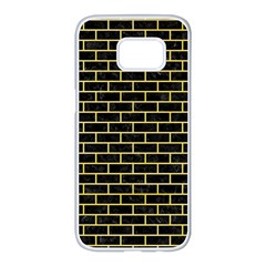 Brick1 Black Marble & Yellow Watercolor (r) Samsung Galaxy S7 Edge White Seamless Case by trendistuff