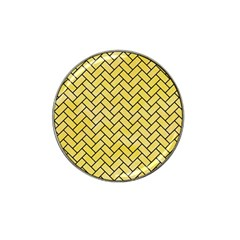 Brick2 Black Marble & Yellow Watercolor Hat Clip Ball Marker (10 Pack) by trendistuff