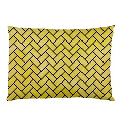 Brick2 Black Marble & Yellow Watercolor Pillow Case by trendistuff