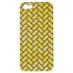Brick2 Black Marble & Yellow Watercolor Apple Iphone 5 Hardshell Case by trendistuff