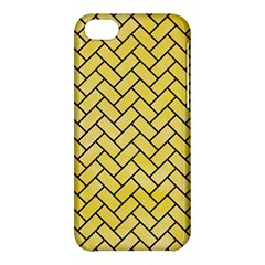 Brick2 Black Marble & Yellow Watercolor Apple Iphone 5c Hardshell Case by trendistuff