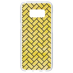 Brick2 Black Marble & Yellow Watercolor Samsung Galaxy S8 White Seamless Case by trendistuff