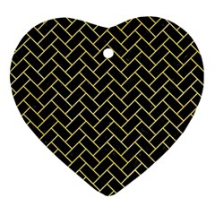 Brick2 Black Marble & Yellow Watercolor (r) Ornament (heart) by trendistuff
