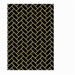 Brick2 Black Marble & Yellow Watercolor (r) Large Garden Flag (two Sides) by trendistuff