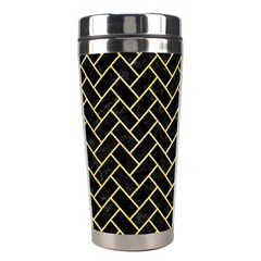 Brick2 Black Marble & Yellow Watercolor (r) Stainless Steel Travel Tumblers by trendistuff