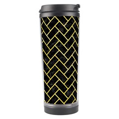 Brick2 Black Marble & Yellow Watercolor (r) Travel Tumbler