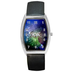 Wonderful Lion Silhouette On Dark Colorful Background Barrel Style Metal Watch by FantasyWorld7