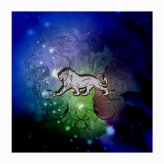 Wonderful Lion Silhouette On Dark Colorful Background Medium Glasses Cloth (2 Side) by FantasyWorld7