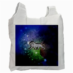 Wonderful Lion Silhouette On Dark Colorful Background Recycle Bag (one Side) by FantasyWorld7