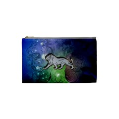Wonderful Lion Silhouette On Dark Colorful Background Cosmetic Bag (small)  by FantasyWorld7