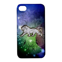 Wonderful Lion Silhouette On Dark Colorful Background Apple Iphone 4/4s Hardshell Case With Stand by FantasyWorld7