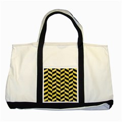 Chevron1 Black Marble & Yellow Watercolor Two Tone Tote Bag by trendistuff