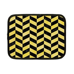 Chevron1 Black Marble & Yellow Watercolor Netbook Case (small)  by trendistuff
