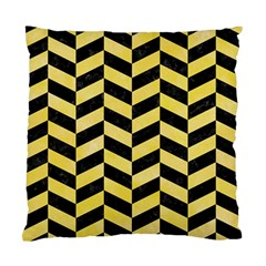 Chevron1 Black Marble & Yellow Watercolor Standard Cushion Case (two Sides) by trendistuff