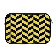 Chevron1 Black Marble & Yellow Watercolor Apple Macbook Pro 17  Zipper Case by trendistuff