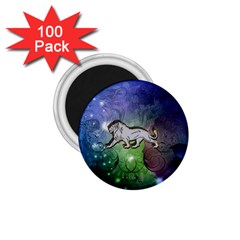 Wonderful Lion Silhouette On Dark Colorful Background 1 75  Magnets (100 Pack)  by FantasyWorld7