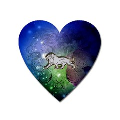 Wonderful Lion Silhouette On Dark Colorful Background Heart Magnet by FantasyWorld7