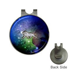 Wonderful Lion Silhouette On Dark Colorful Background Hat Clips With Golf Markers by FantasyWorld7