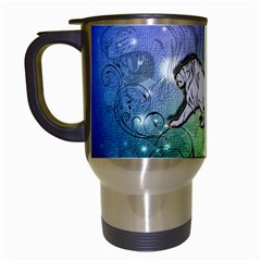 Wonderful Lion Silhouette On Dark Colorful Background Travel Mugs (white) by FantasyWorld7