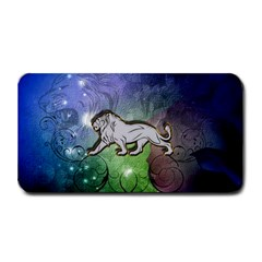 Wonderful Lion Silhouette On Dark Colorful Background Medium Bar Mats by FantasyWorld7