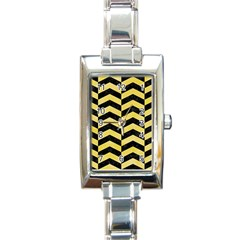 Chevron2 Black Marble & Yellow Watercolor Rectangle Italian Charm Watch by trendistuff