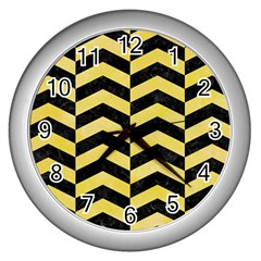 Chevron2 Black Marble & Yellow Watercolor Wall Clocks (silver)  by trendistuff