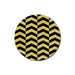 Chevron2 Black Marble & Yellow Watercolor Rubber Round Coaster (4 Pack)  by trendistuff
