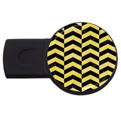 Chevron2 Black Marble & Yellow Watercolor Usb Flash Drive Round (4 Gb) by trendistuff