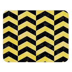 Chevron2 Black Marble & Yellow Watercolor Double Sided Flano Blanket (large)  by trendistuff