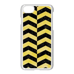 Chevron2 Black Marble & Yellow Watercolor Apple Iphone 8 Seamless Case (white) by trendistuff