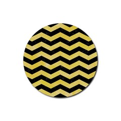 Chevron3 Black Marble & Yellow Watercolor Rubber Round Coaster (4 Pack)  by trendistuff