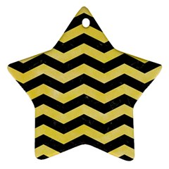 Chevron3 Black Marble & Yellow Watercolor Star Ornament (two Sides) by trendistuff