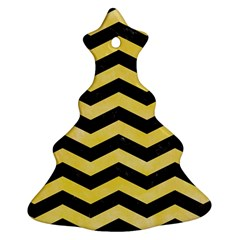 Chevron3 Black Marble & Yellow Watercolor Ornament (christmas Tree)  by trendistuff