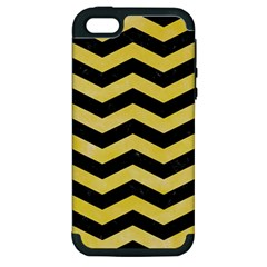 Chevron3 Black Marble & Yellow Watercolor Apple Iphone 5 Hardshell Case (pc+silicone) by trendistuff