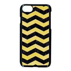 Chevron3 Black Marble & Yellow Watercolor Apple Iphone 8 Seamless Case (black) by trendistuff