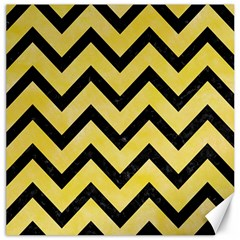 Chevron9 Black Marble & Yellow Watercolor Canvas 16  X 16   by trendistuff