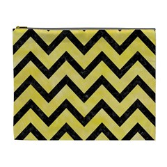 Chevron9 Black Marble & Yellow Watercolor Cosmetic Bag (xl) by trendistuff