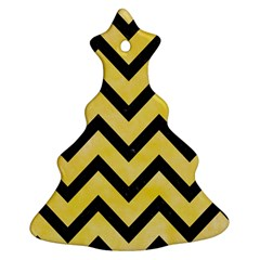 Chevron9 Black Marble & Yellow Watercolor Christmas Tree Ornament (two Sides) by trendistuff
