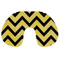 Chevron9 Black Marble & Yellow Watercolor Travel Neck Pillows by trendistuff