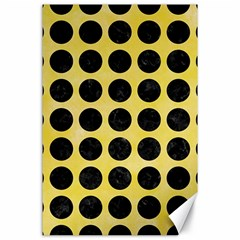 Circles1 Black Marble & Yellow Watercolor Canvas 24  X 36  by trendistuff