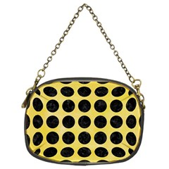 Circles1 Black Marble & Yellow Watercolor Chain Purses (two Sides)  by trendistuff