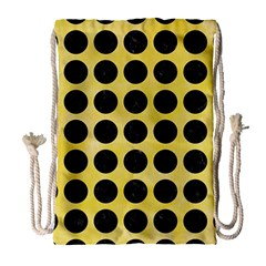 Circles1 Black Marble & Yellow Watercolor Drawstring Bag (large) by trendistuff