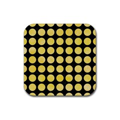 Circles1 Black Marble & Yellow Watercolor (r) Rubber Square Coaster (4 Pack)  by trendistuff